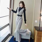 吊帶褲御姐洋氣套裝女2021春季新款氣質收腰闊腿連體褲兩件套 【端午節特惠】