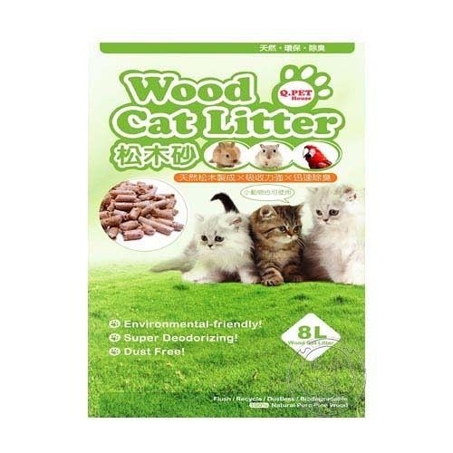 【🐱🐶培菓寵物48H出貨🐰🐹】Q.PET Wood Cat Litter 貓用天然松木砂 8L