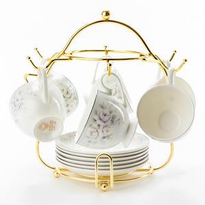 愛莉莎骨瓷六杯盤 附金架