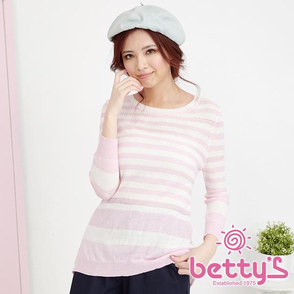 betty's貝蒂思  條紋下擺拼接雪紡針織衫(淺粉)