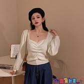 法式上衣 雯迪婭法式方領露鎖骨短款針織上衣女秋冬季皺褶顯瘦收腰長袖上衣 寶貝計畫