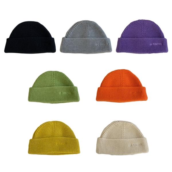OT SHOP[現貨]帽子 針織帽 毛帽 套頭帽 護耳帽 純色 秋冬保暖 百搭休閒 黑/灰/黃/米/淺綠/紫/橘 C2183