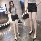 韓版黑色西裝短褲女薄款顯瘦大碼休閒褲百搭學生熱褲   卡菲婭