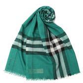 BURBERRY 輕盈格紋羊毛絲綢圍巾(翠綠色)089513-12