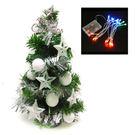 聖誕樹-摩達客 台灣製迷你1呎/1尺(30cm)裝飾聖誕樹(冰雪白系)+LED20燈彩光電池燈