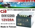 【久大電池】 神戶電池 CSB電池 EVX12260 12V26Ah 品質壽命超越 NP26-12 WP26-12