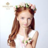 快速出貨-髮飾兒童花環頭花兒童頭飾花童唯美新娘花環手花套裝兒童禮服配飾演出