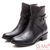 G Ms MIT 系列牛皮交叉皮帶釦短靴黑色