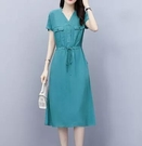 短袖連身裙女收腰顯瘦氣質法式夏天休閒裙子 6706 NC322-D依佳衣