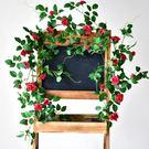 仿真花藤 仿真玫瑰花藤條薔薇假花藤條纏繞空調管道裝飾遮擋塑膠花藤蔓植物 伊蘿精品