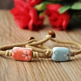 陶瓷手鍊-手繪花朵生日情人節禮物女串珠手環2色73gw65【時尚巴黎】