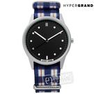 HyperGrand / NWH2TART / Tartan 經典格紋藝術印花尼龍手錶 黑x藍白 38mm