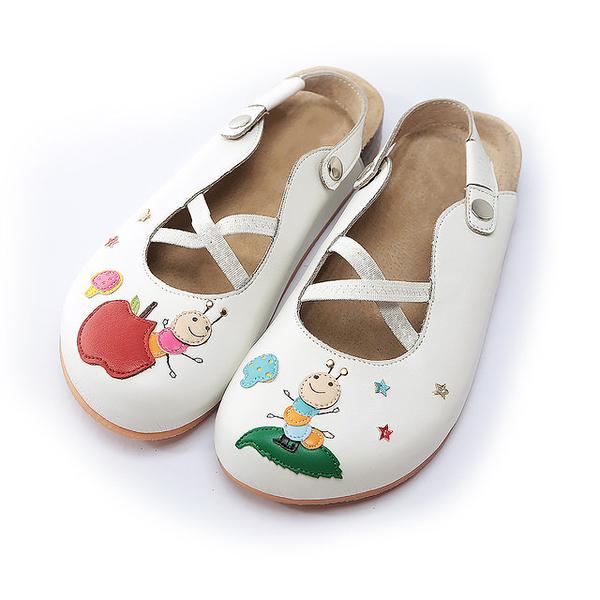【Jingle】蘋果咬一口前包後空軟木休閒鞋(經典白大人款)