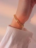 手鐲為晚羅馬數字開口玫瑰金銀手鐲女純銀韓版時尚個性網紅手飾品潮 嬡孕哺
