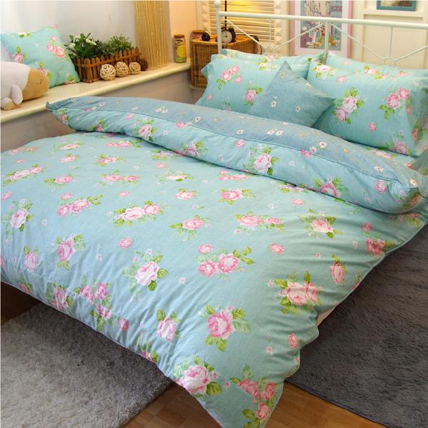 床包 / 加大床包組(含枕套) /100%精梳棉-夢遊花綠【大鐘印染、台灣製造】#精梳純綿