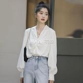 2021春新款長袖西裝領襯衫女小心機V領設計感小眾氣質百搭上衣 快速出貨