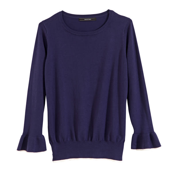 【MASTINA】造型袖口針織上衣-藍 0610