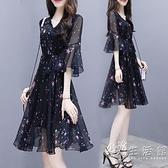 小個子黑色碎花雪紡洋裝女夏季2020新款氣質遮肚顯瘦仙女裙子 小時光生活館