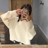 秋季韓版新款寬鬆慵懶風V領套頭外穿百搭學生長袖針織毛衣女 【快速出貨】