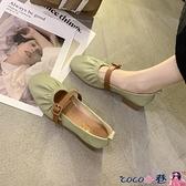 熱賣豆豆鞋 仙女風單鞋女夏2021年春季新款懶人奶奶鞋中粗跟豆豆鞋淺口晚晚鞋【618 狂歡】