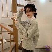 針織上衣 2020秋冬新款正韓網紅寬鬆加厚麻花開衫小個子短款針織毛衣外套女