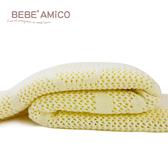 Amico 鏤空編織好眠毯(熊兔款)-粉黃