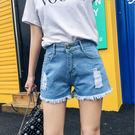 牛仔短褲女高腰破洞寬鬆顯瘦毛邊熱褲正韓闊...