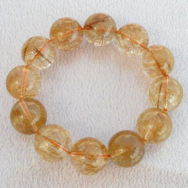 【歡喜心珠寶】【天然巴西維納斯紅鈦晶圓珠19mm手鍊】12顆.重118.2g「附保証書」招財寶石
