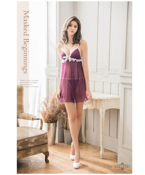 睡衣 性感睡衣【中大尺碼睡衣】深紫綴白蕾絲二件式薄紗性感睡衣 星光密碼B053