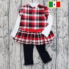 紅色格紋洋裝+白內搭衣+黑內搭褲三件式套裝Roberta Cloum 台灣製 秋冬款 [1905]
