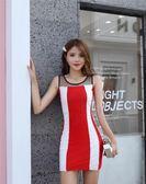 91332#夜店女裝修身顯瘦無袖一步裙女撞色連身裙透視網紗拼接條紋G-B507-B日韓屋
