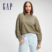 Gap女裝 碳素軟磨系列 法式圈織簡約運動休閒上衣 650681-橄欖綠