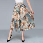 媽媽裝裙褲雪紡闊腿褲中年女裝夏裝寬鬆半身裙子中老年花褲子薄款
