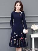 中尺碼洋裝2020春秋新款大碼女裝闊太太時尚氣質復古打底連身裙刺繡遮肚減齡 交換禮物