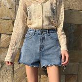 牛仔短褲  網紅同款牛仔褲女夏裝2018新款港味開叉毛須邊闊腿短褲高腰熱褲子  蒂小屋服飾