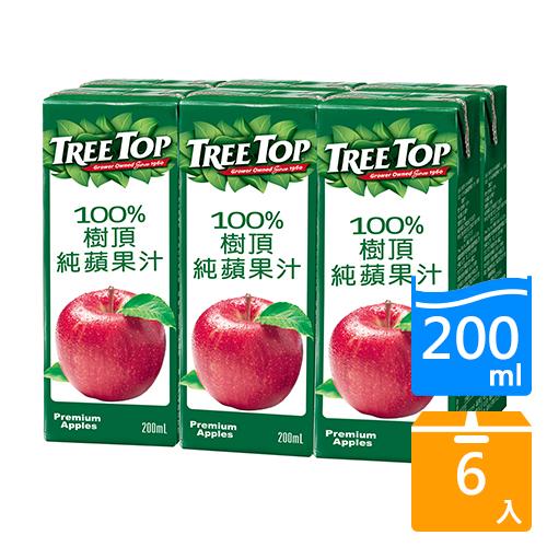 樹頂TreeTop100%蘋果汁200ml x6入【愛買】