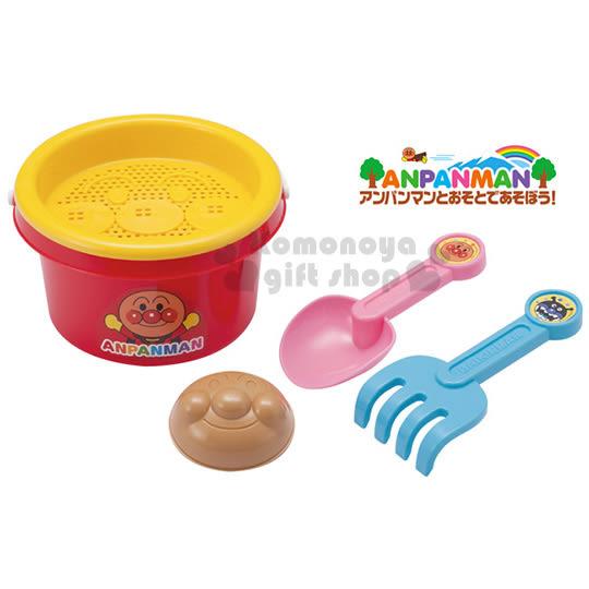 〔小禮堂嬰幼館〕麵包超人 挖沙玩具組《紅桶裝.張雙手.細菌人》4971404-31274