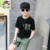 新款童裝男童套裝夏季中大兒童衣服9短袖10兒童12t恤15歲套裝 萊爾富免運