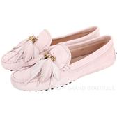TOD'S Gommino 羽毛流蘇麂皮豆豆鞋(柔粉色) 1930258-47