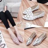 女夏季新款韓國尖頭鏤空透氣平底涼鞋時尚百搭淺口套腳洞洞鞋 俏腳丫