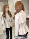 風衣外套 秋冬季風衣翻領韓版收腰顯瘦新款外套女小西裝短款皮絨夾克