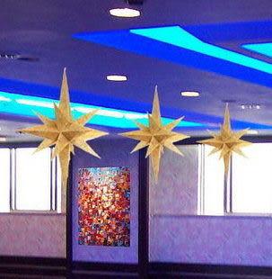 聖誕 元旦 廳房 天花板頂部 吊頂必備品 超大金粉多角星掛件