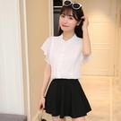 夏新款女裝立領荷葉邊上衣女超仙甜美喇叭袖白色短袖雪紡襯衫
