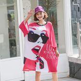 特大寬鬆短袖T恤夏季模特超大碼女裝美女印花寬松時尚顯瘦舒適T恤9983#N818朵維思
