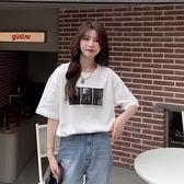 (下殺)彈性棉短袖t恤女中長版【08SG06487】