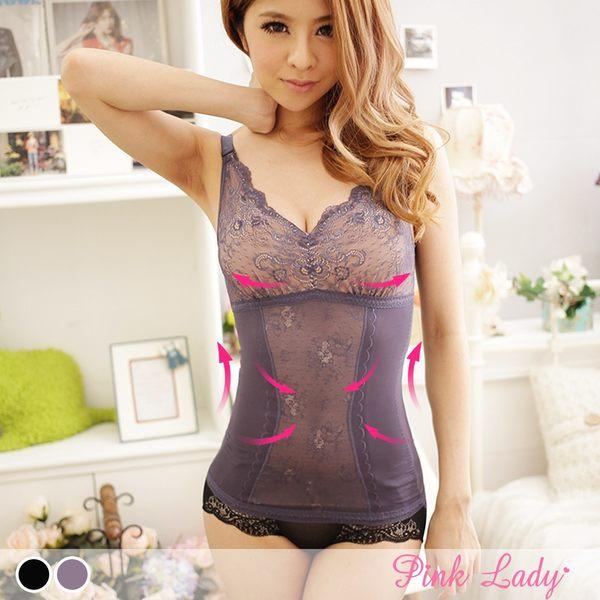 機能調整型塑身衣 性感焦點法式浪6285(藍、黑)-Pink Lady