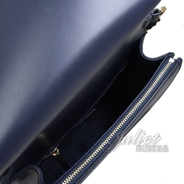 茱麗葉精品【全新現貨】 TORY BURCH 73125 SAVSNN 小羊皮菱格紋斜背金鍊包.深藍
