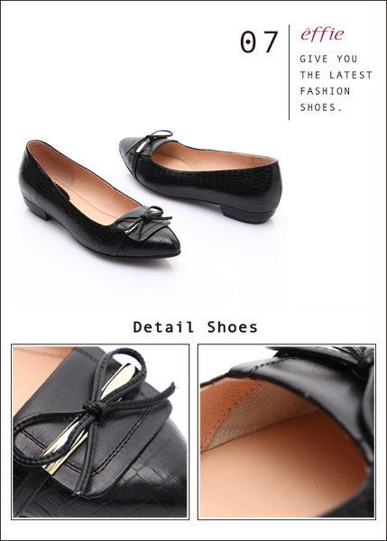 effie 輕透美型 全真皮壓紋金屬飾扣低跟鞋 黑