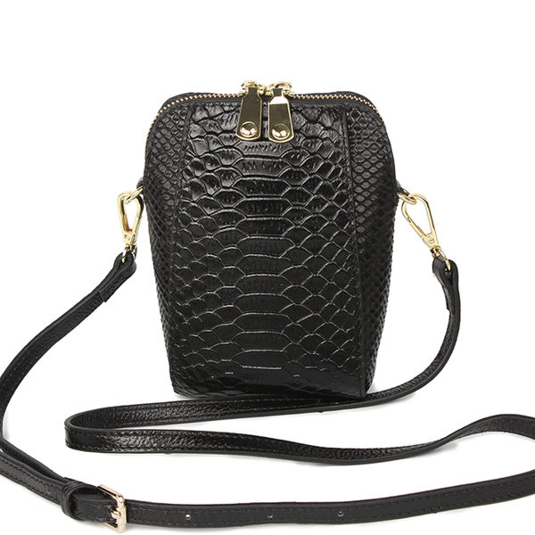 【O-ni O-ni】真皮鱷魚皮紋手機包女士時尚側肩包HWBH-P204-黑色