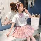 女童套裝2021新款jk制服百褶裙子短袖兩件套學院風女童jk格裙春裝 快速出貨